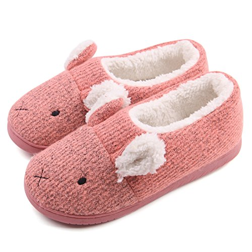 Cotton Womens Shoes - Neeseelily Women Comfort Plush Cozy Home Slippers Animal Non Slip Indoor Shoes (7.5-8B(M) US, Pink)