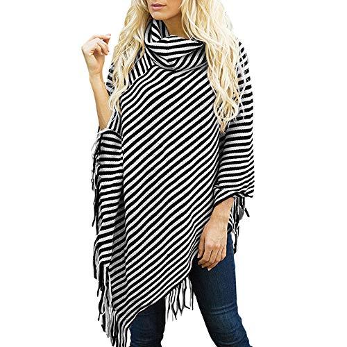 Women's Capes Ponchos,Ladies Diagonal Striped High Collar Fringed Cloak Sweater Shawl Cozy Shawl by-NEWONESUN