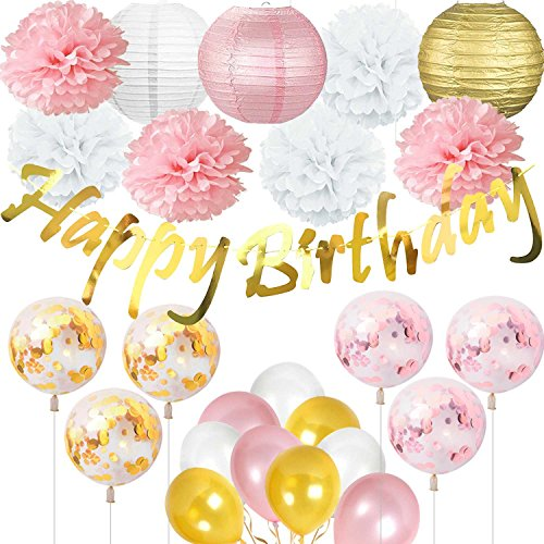 ZSNICE Birthday Party Decorations, Party Supplies Glittering Golden Birthday Banner, Paper Lanterns, Tissue Flowers, Confetti Balloons, Gold Pink White for Bridal Shower, Home Decor