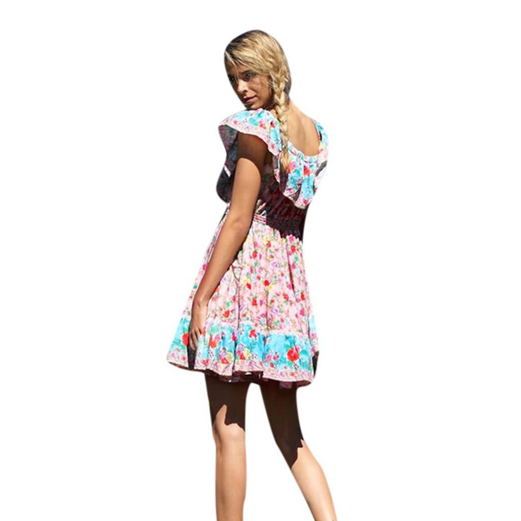ZOMUSAR 2019 Dress, Women's Summer Fashion Printed Waist V-Collar Chiffon Beach Dresses Pink