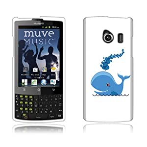 Fincibo (TM) Huawei Ascend Q M660 Protector Cover Case Snap On Hard Plastic - Happy Whale, Front And Back