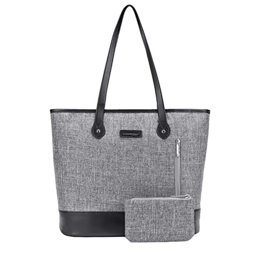 Laptop Bags Totes - UtoteBag Women 15.6 Inch Laptop Tote Bag Notebook Shoulder Bag Lightweight Multi-pocket Nylon Briefcase Classic Casual Handbag (Grey)