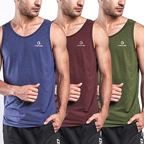 Ogeenier Men's Training Quick-Dry Sports Tank Top Shirt for Gym Fitness Bodybuilding Running Jogging 3 Pack ()