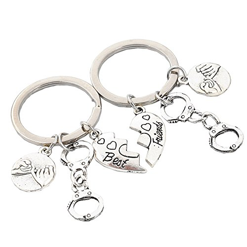 UHANGETH Best Friends, 2 Pcs Handcuffs Heart-Shaped Key Rings Birthday Christmas Gift (Silver 2)