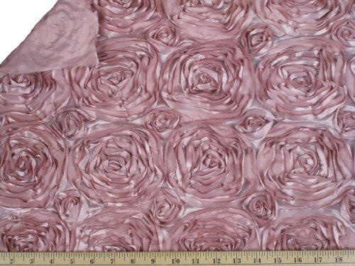 "Acrylic Taffeta Carnation Pink Rosette Fabric / 58-60"" Wide / Sold By the Yard"