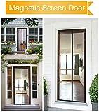 LEFULYN Magnetic Screen Door-Mosquito Patio Screen Magic Door Mesh Curtain Full Frame Velcro Fits Door Size up to 35'' 82'' Max