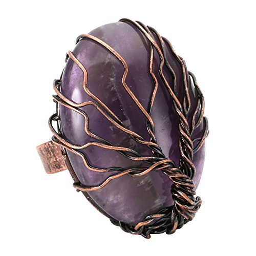 Top Plaza Handmade Retro Vintage Copper Wire Wrapped Tree of Life Oval Amethyst Healing Crystal Adjustable Ring Bronze Band Size 6 7 8 ()