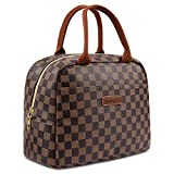 WODKEIS Lunch Bags For Women Insulated Lunch Box Cooler Bag Water-resistant Thermal Lunch Tote Bag Soft Lunch Holder for Womens/Men/Work/Picnic/Beach/Hiking (Brown/Black Pattern)