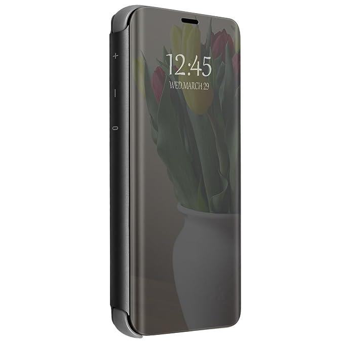 Funda para Xiaomi Mi Mix 2 Carcasa Espejo Mirror Flip Caso Ultra Delgada Protector Shock Absorbing Caja del Teléfono Translucent Window View