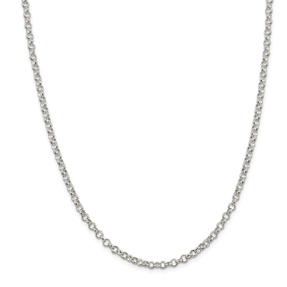 925 Sterling Silver 4.0mm Wide Rolo Chain Necklace 18 Length
