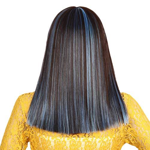 Qi Dye Kit - Wig Fashion Synthesis Qi Liu Short Dye Straight Bob Mixed Color Natural Hair Full Wig