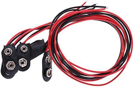 LOVIVER 3X Zwart Rood Kabelaansluiting 9V Batterij Clips Connector Gesp 31cm