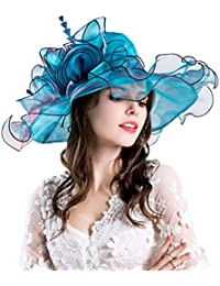 ba56de32380d6 Women Foldable Organza Church Derby Hat Ruffles Wide Brim Summer Bridal Cap
