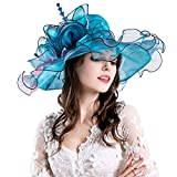 Women Foldable Organza Church Derby Hat Ruffles Wide Brim Summer Bridal Cap for Wedding Tea Party Beach (Blue)