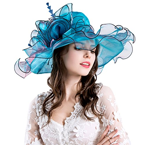 Women Foldable Organza Church Derby Hat Ruffles Wide Brim Summer Bridal Cap for Wedding Tea Party Beach (Blue)]()