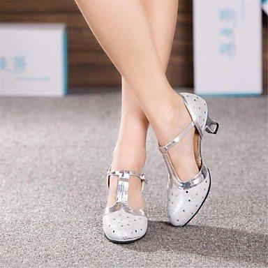 XIAMUO Nicht anpassbar - Die Frauen tanzen Schuhe moderne Leder Cuban Heel Blau/Rosa/Silber/Gold, Fuchsia, US 6 / EU 36/UK4/CN 36