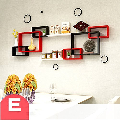 HOMEE Wall Shelf Wall Hanging Creative Living Room Tv Wall Decoration Partition Wall Frame Shelves Wall Decoration (Multiple Styles Available),E by HOMEE