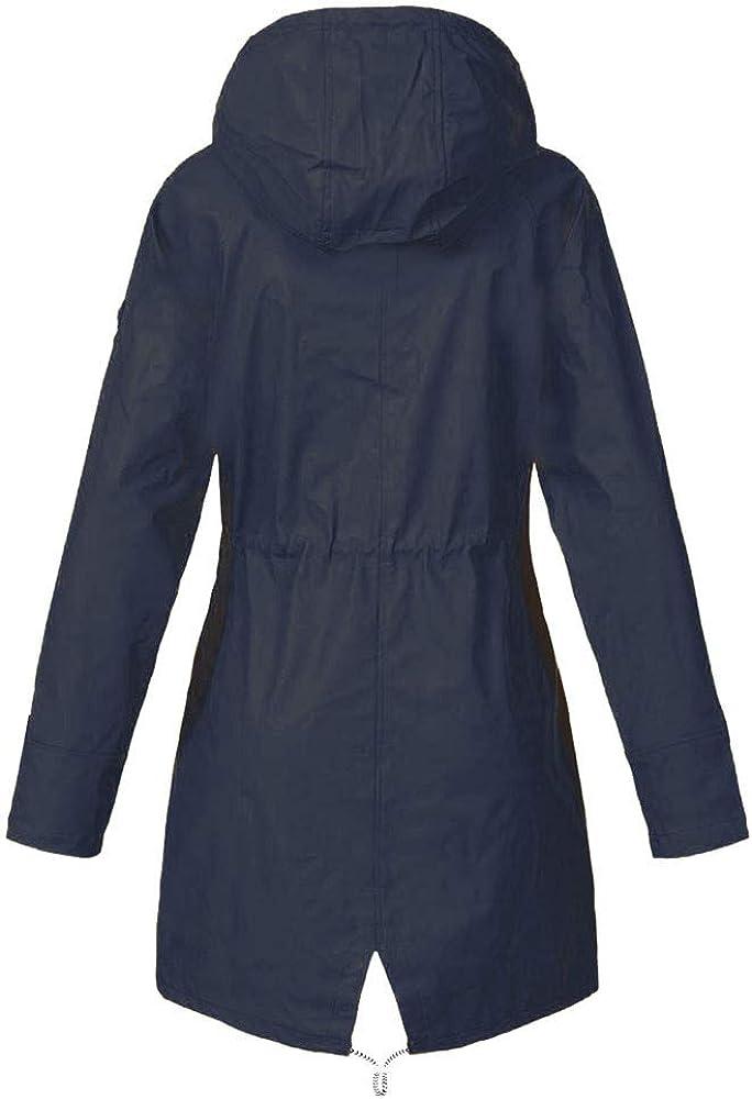 WUDUBE Giacca Impermeabile da Pioggia per Donna Giacca da Pioggia Impermeabile Impermeabile con Cappuccio Antivento