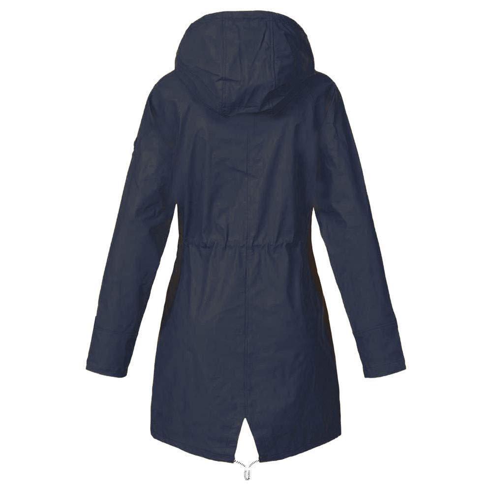 lotus.flower Womens Solid Rain Jacket Outdoor Jackets Waterproof Hooded Raincoat Windproof