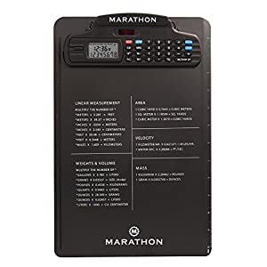 Marathon ST083016BK Clipboard with Stopwatch, Calculator, Clock, Timer and Metric Conversion Charts Latest Edition with Tighter Grip