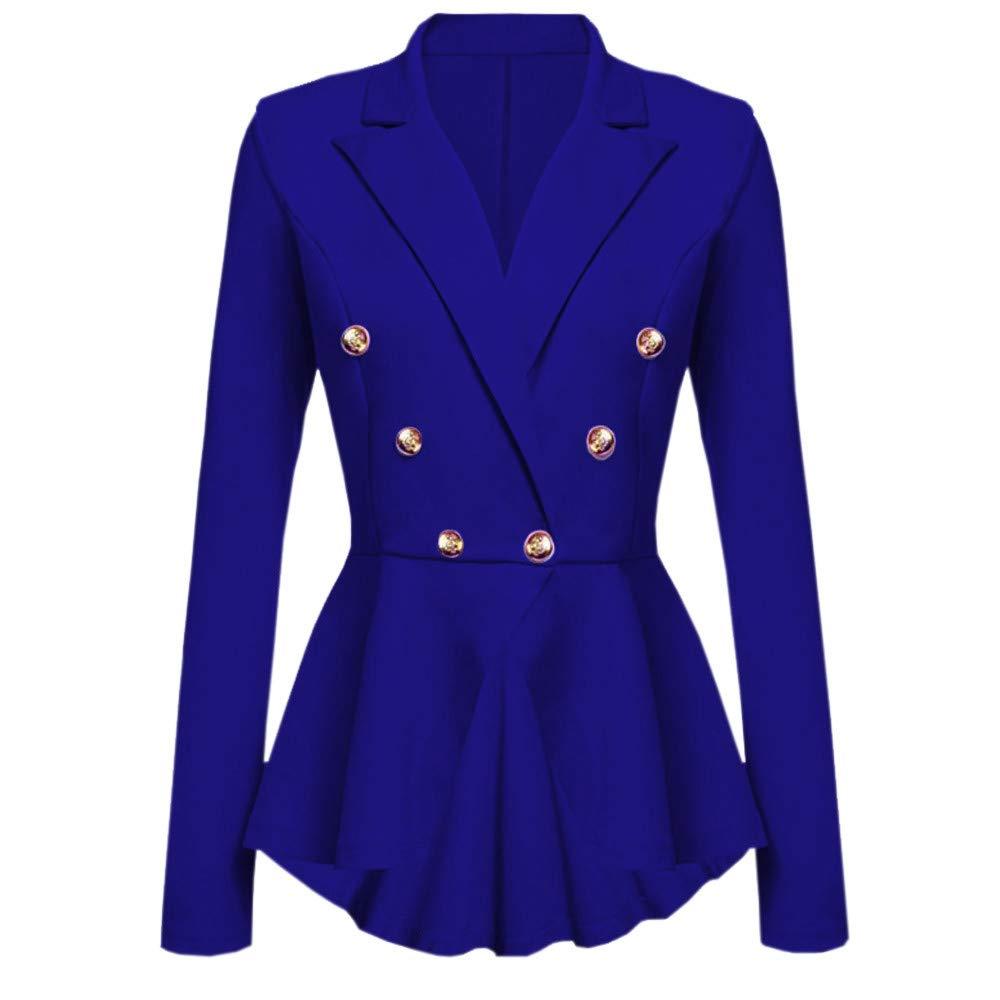 UONQD Women Long Sleeve Blazer Ruffles Peplum Button Casual Jacket Coat Outwear(Small,Blue) by UONQD (Image #1)