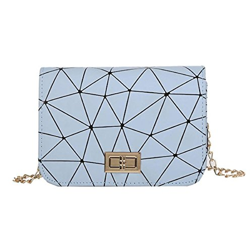 Women Shoulder Owill Ladies Leather Bag Crossbody Messenger Fashion Grid Pattern Blue Bags Bag AdHdxwRa