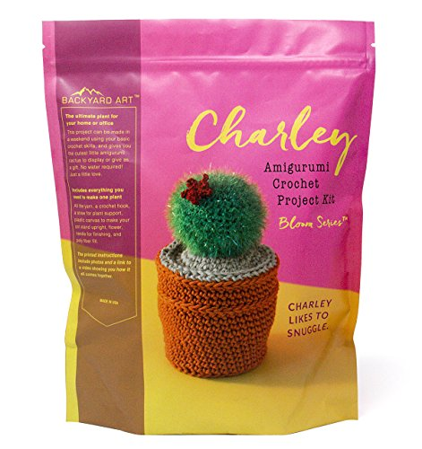 Charley The Cactus Crochet Kit an Amigurumi DIY Craft Project with Everything Including a Hook, Pattern, Yarn, Needle and Video Instructions - Easy to Learn DIY Gift Kits by Backyard Art