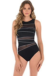 a59e0975da347 Miraclesuit Women s Illusionists Palma One Piece High Neck Swimsuit ...