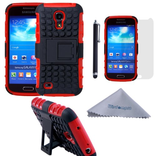 S4 Mini Case, Wisdompro [2 Piece in 1] Dual Layers [Heavy Duty] Hard Soft Hybrid Rugged Protective Case with [Foldable Kickstand] for Samsung Galaxy S4 Mini (NOT S4 Fit) - Red / Black (Samsung Galaxy S4 Case 2 Layer)