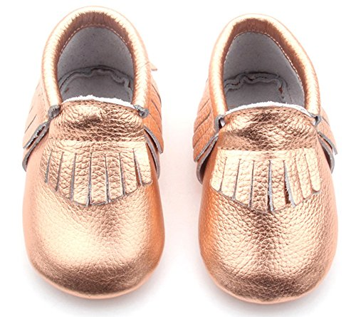Posh Baby Shoes: Genuine Leather, Hand Made, Baby Moccasins (0-6 Months, Rose Gold)