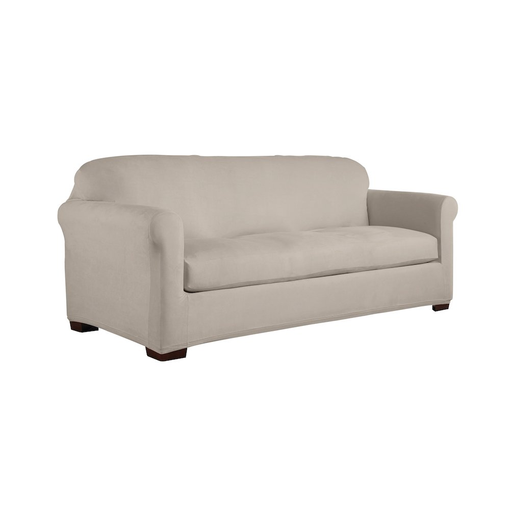 Serta 2 Piece Reversible Stretch Suede Box Sofa Slipcover, Brown/Ivory