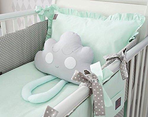 Crib /& pram cot Bed for cot 75x100cm New 2pcs Baby Blue /& Grey Blanket Set//Cotton /& Minky