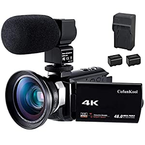4K Camcorder WiFi Video Camera YouTube Vlogging Camera CofunKool Ultra HD 60FPS 48MP IR Night Vision 16X Digital Zoom 3.0″ Touch Screen, with Microphone Wide Angle Lens Battery Charger 2 Batteries