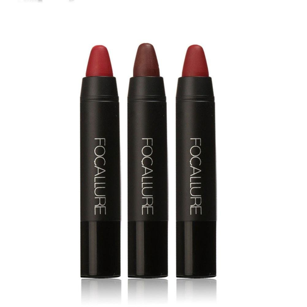 3PC/Set Red Matte Lipstick Pen Mingfa Long-lasting Waterproof Velvet Lipgloss Crayon Makeup Lip Pencil (A) Mingfa.y