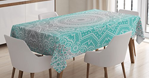 Grey and Turquoise Tablecloth by Ambesonne, Primitive Spirit