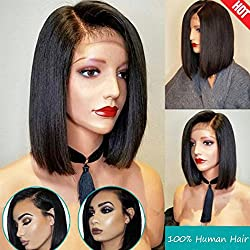 "Brazilian Virgin Hair 130% Density Lace Front Short Bob Human Hair 10"" Natural Color Lace Front Wigs Human Hair with Baby Hair"