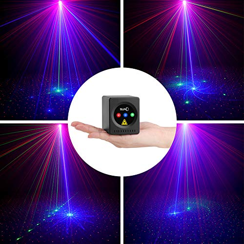 SUNY Mini Portable Cordless Laser Lights Rechargeable 8 RGB Patterns Gobo Projector Sound Activated Music DJ Party Lights for Outdoor Travel Camping Disco Live Show Home Dance Holiday Birthday ()