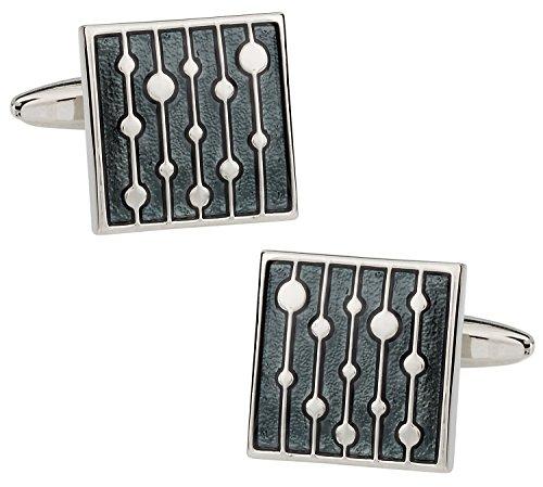 Cuff-Daddy Artsy Gray Enamel Square Silver Cufflinks