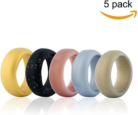 moolon silicona anillo anillos de boda 5 unidades, silicona de goma flexible anillo banda Boda Anillo de compromiso ...