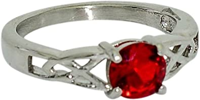 Birthstone Ring~January~Stainless Steel~3 Stone~Cubic Zirconia CZ~Garnet~Red Crystal~Mothers Ring~Fashion Ring~Womens Jewelry
