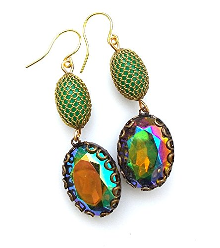 Vintage Green Mesh Earrings Aurora Borealis Dangle Estate Style Jewelry (Estate Dangles)