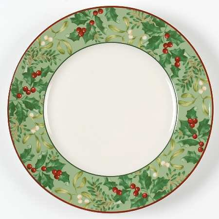 """222 Fifth Christmas Foliage Dinner Plate Set of 4 11"""""""