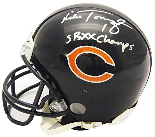 Mini Helmet Champs Riddell (Mike Tomczak Signed Chicago Bears Riddell Mini Helmet w/SB XX Champs)