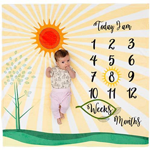 Baby Monthly Milestone Blanket - Unisex Baby Milestone Blanket for Boys & Girls - Large 47 x 47 Inch Week & Month Blanket for Baby Pictures - Baby Age Blanket -