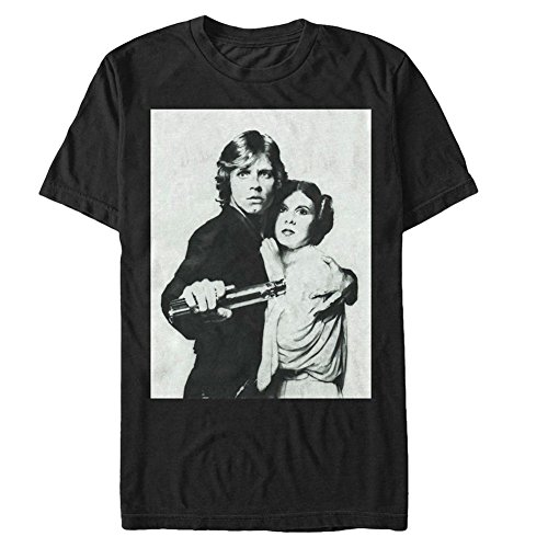 [Unisex-Adult Star Wars Tee - Luke & Princess Leia Black T-Shirt - Medium] (Cheap Star Wars Shirts)