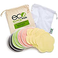 Washable Organic Bamboo Nursing Pads (8 Pack) with Cloth Bag - Reusable, Ultr...