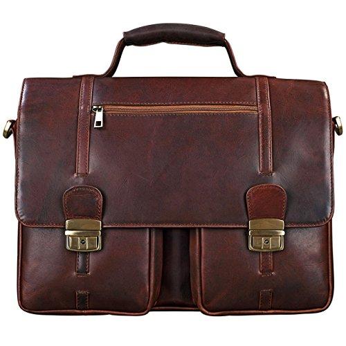 STILORD stylische Umhängetasche Aktentasche Handtasche mit Schloss und 15,6 Zoll Laptopfach aus Leder Cognac Braun / Rot cognac - dunkelbraun