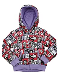 Paul Frank Big Girls Youth Comic Strip Hoodie, Violet
