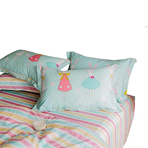 (XUKEJU Printing 100% Cotton Fitted Sheet Queen Size 60