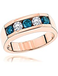 Five Stone White Blue Natural 1 Ctw Diamonds Ring 14K Gold Mens Jewelry
